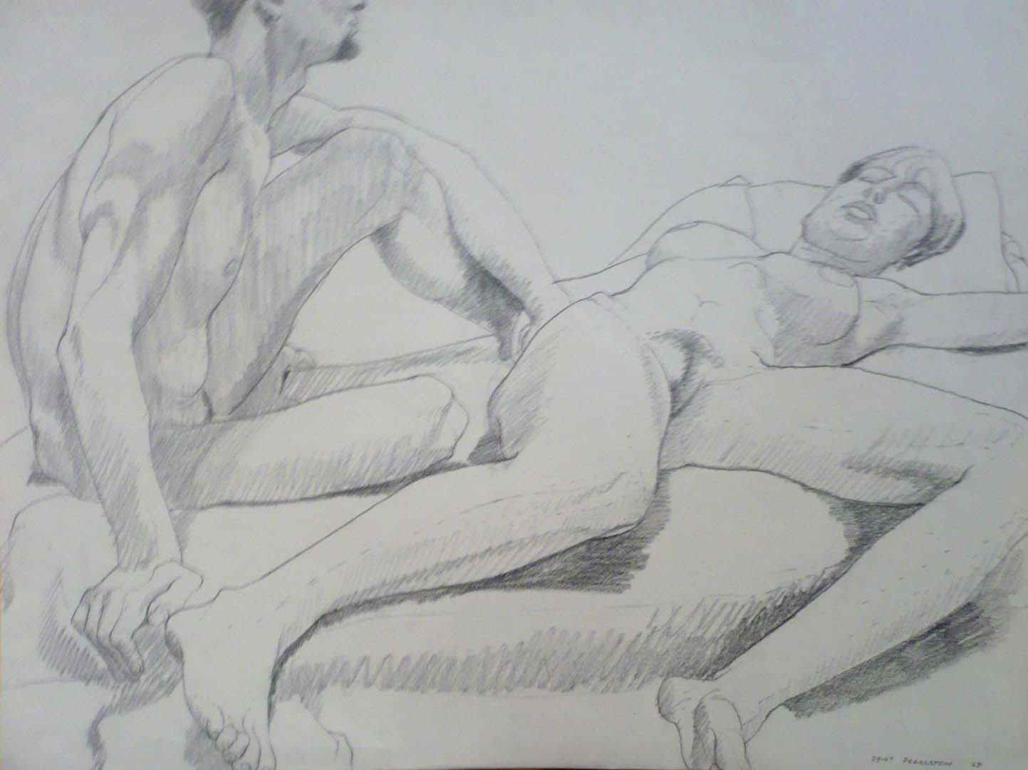 1967 Seated Male Model and Reclining Female Pencil 17.875 x 23.5