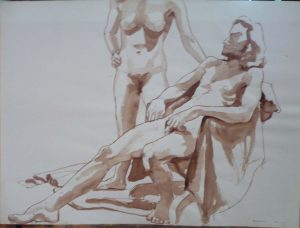 1967 Standing Female Model and Seated Male Model with Chair Sepia 22 x 30