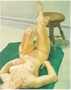 1968 Female Lying on Green Rug with Foot on Piano Stool Oil on Canvas 44 x 36