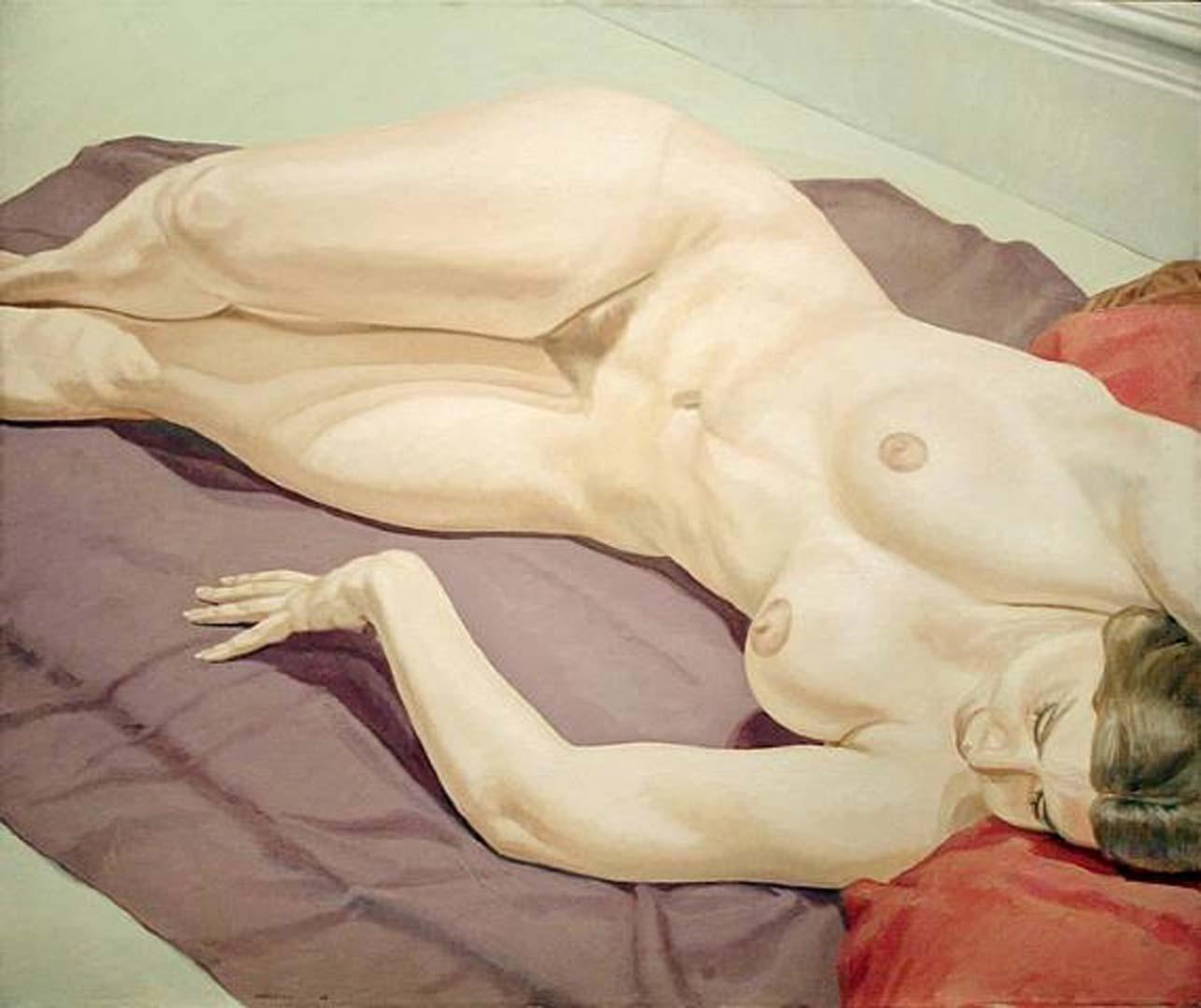 1968 Female Nude Lying on Purple Drape Oil on Canvas 40 x 48