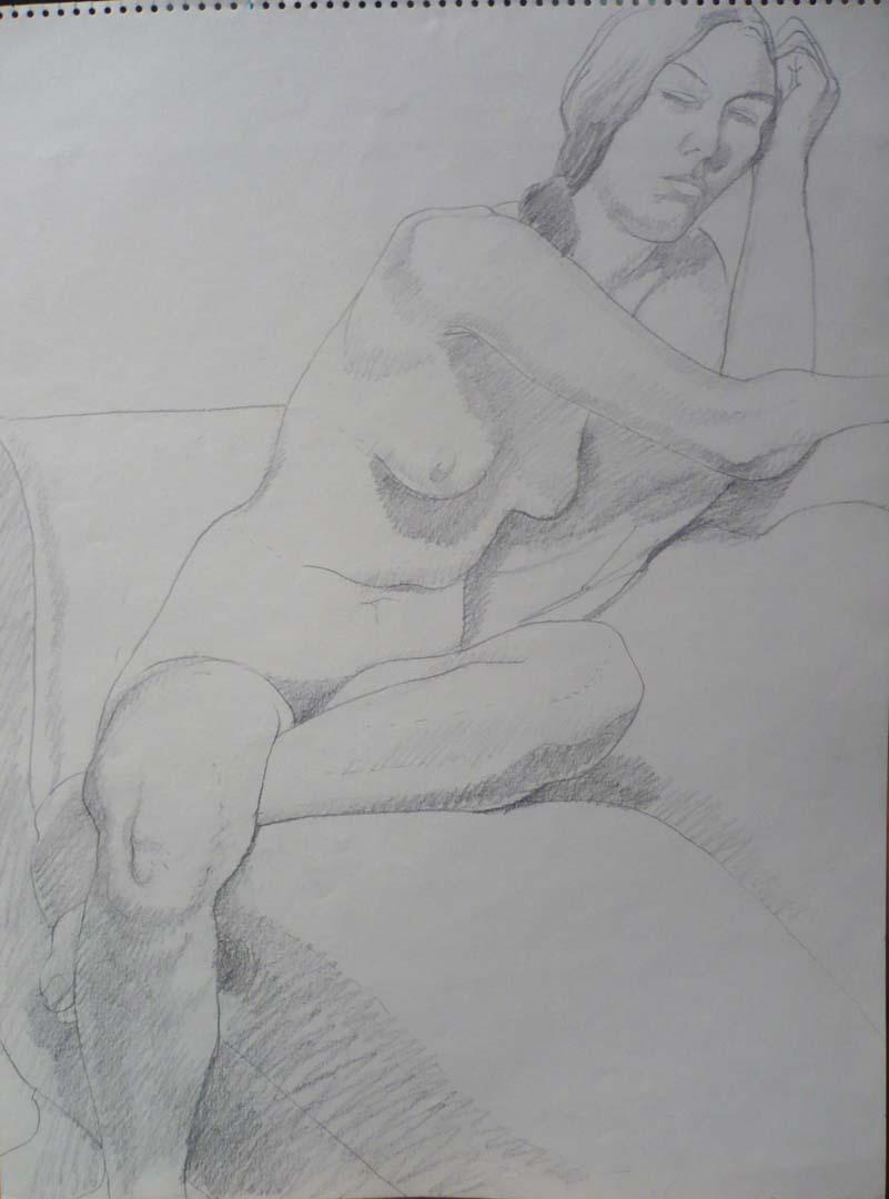 1968 Female Nude Seated on Sofa Pencil 24 x 18
