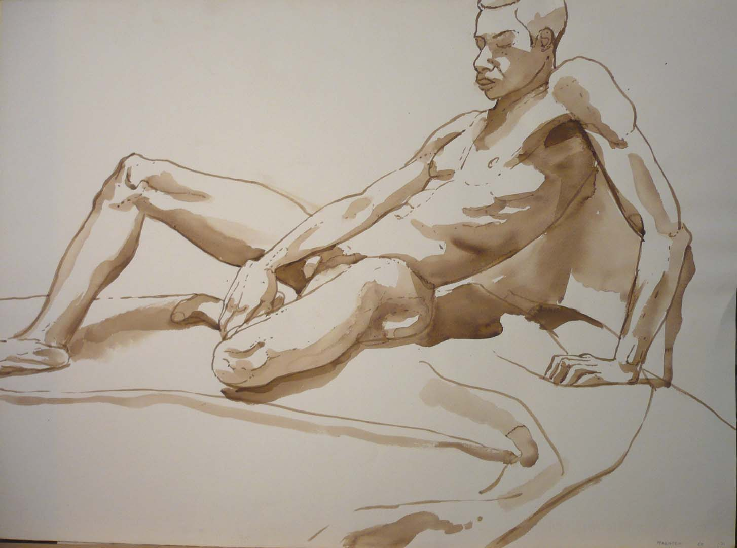 1968 Leaning Male Model Sepia 22 x 29.875
