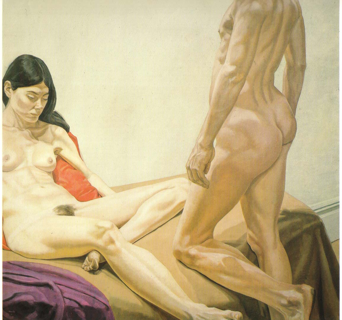 1968 Male and Female on Red and Purple Drapes Oil on Canvas 75.5 x 76