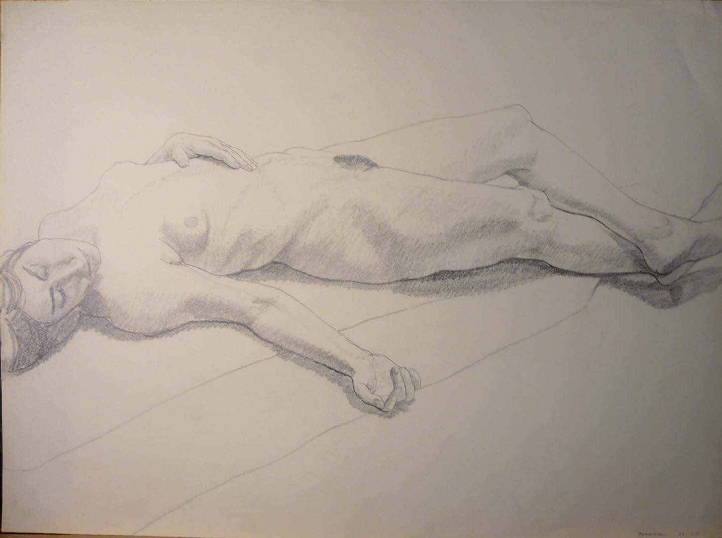 1968 Outstretched Female Model Pencil 22 x 29.875