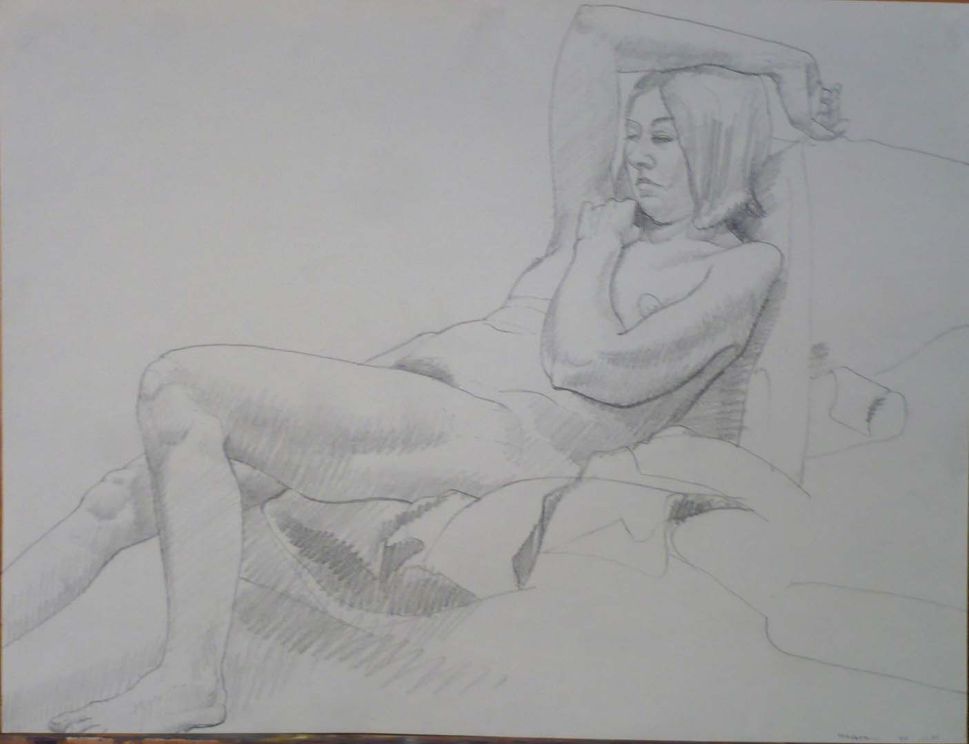1969 Leaning Model on Drape Pencil 18 x 23.75