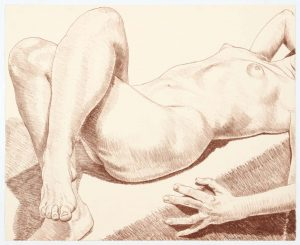 1969 Nude Lying with Crossed Legs Lithograph on Paper 22 x 22.5