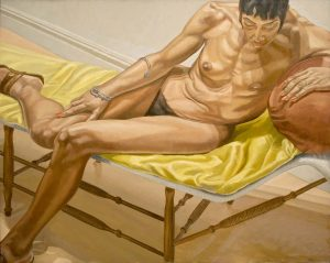 1969 Reclining Female on Yellow Drape Oil on Canvas 46 x 60