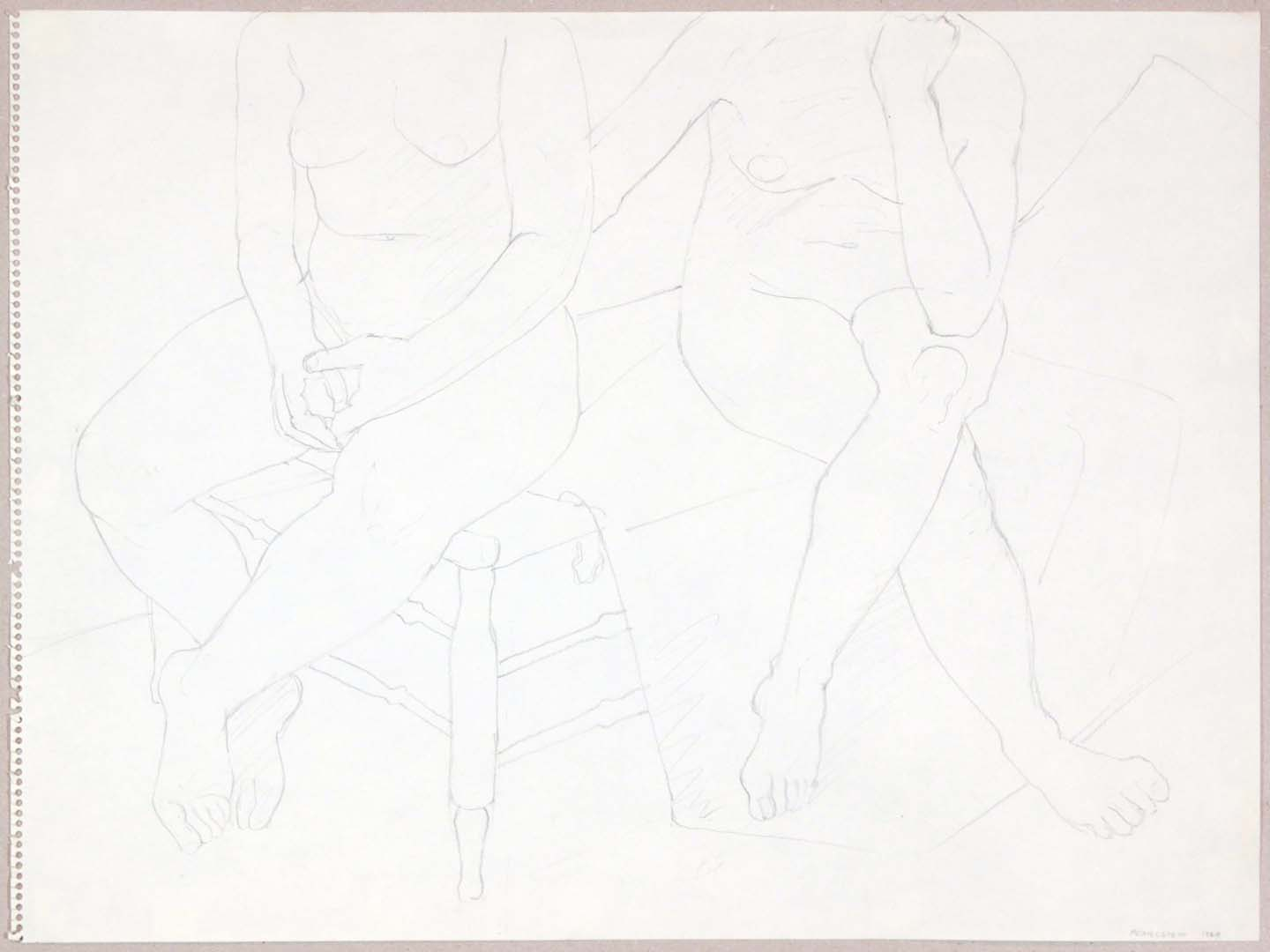 1969 Seated Models on Bed Graphite 18 x 24