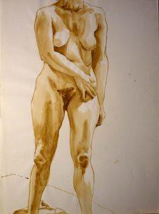 1969 Standing Female Model Sepia 29.875 x 22