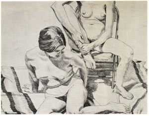 1969 Two Nudes Lithograph on Paper 22.5 x 29