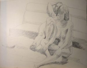 1969 Two Seated Models Pencil 22.5 x 28.5