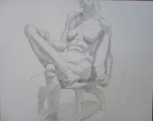 1970 Female Model Seated on Chair Pencil 18.875 x 24