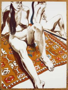 1970 Figure Seated on Rug with Mirror Lithograph on Paper 30 x 22