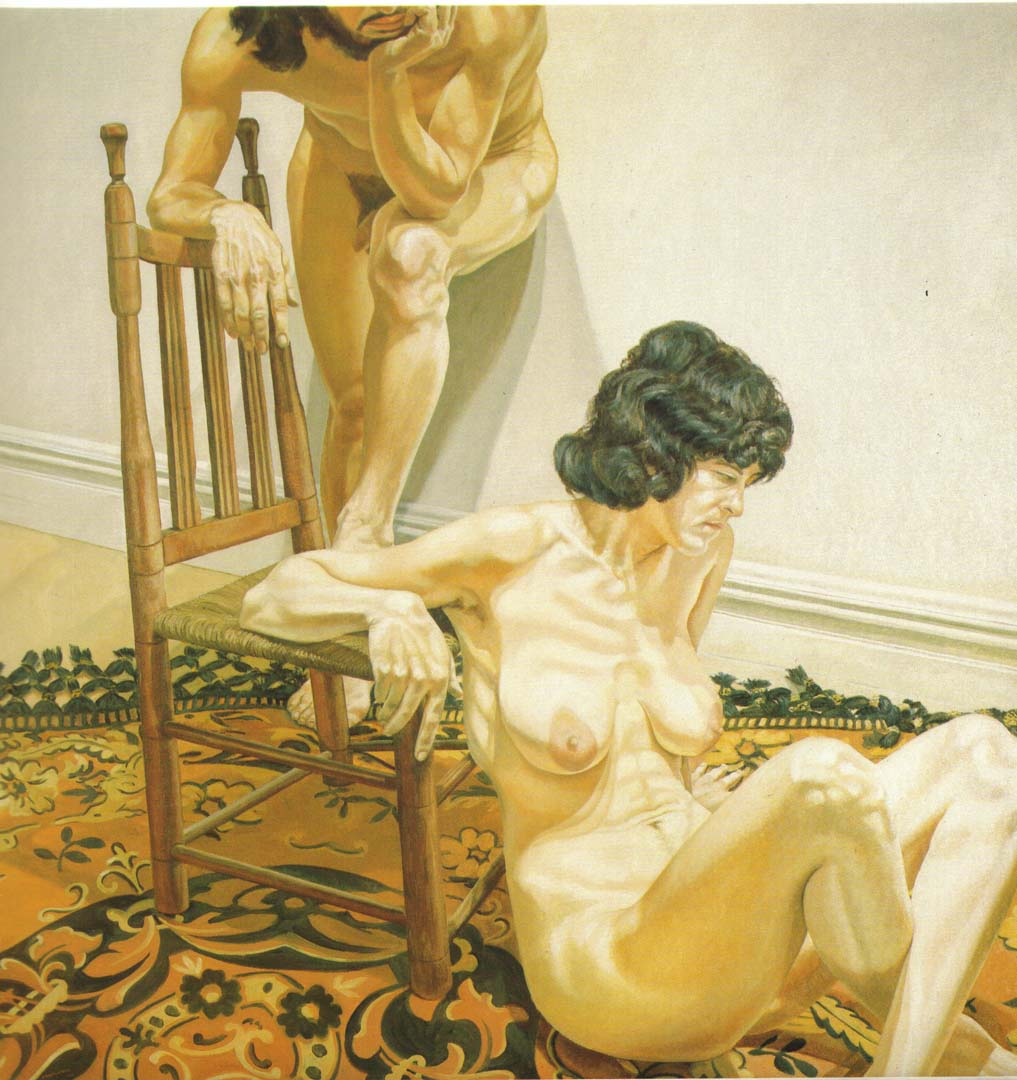 1970 Male and Female Models Leaning on Chair Oil on Canvas 72 x 72