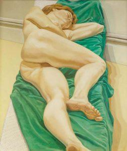 1970 Nude on Green Drape Oil on Canvas 50 x 44