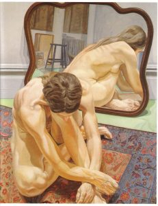 1971 Crouching Female Nude with Mirror Oil on Canvas 60 x 48