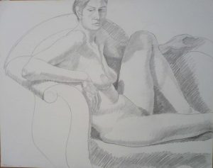 1971 Seated Female with Raised Leg Pencil 18.875 x 24