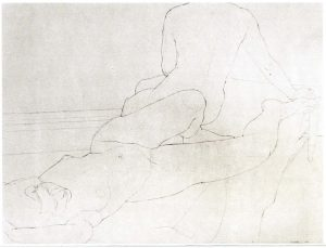 1971 Two Nudes on Old Indian Rug Pencil on Paper 30 x 36