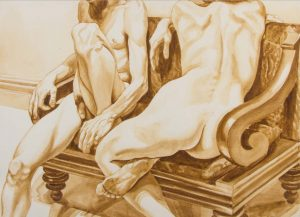 1971 Untitled (Reclining Nudes) watercolor on Paper 31.5 x 43