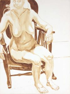 1974 Female Nude Seated in Chair Wash 29.875 x 22