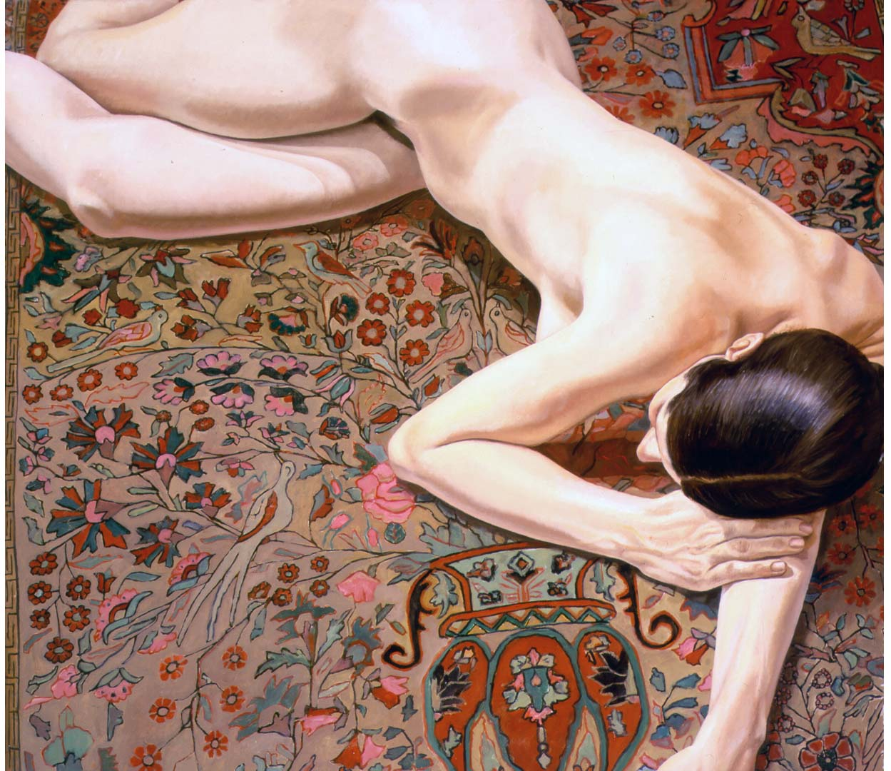 1972 Female Nude on Persian Rug Oil on Canvas 42 x 48