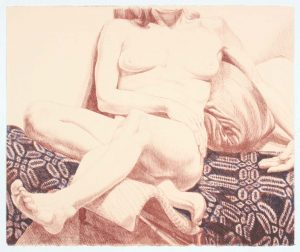 1972 Girl on Blue Coverlet Lithograph on Paper 22.5 x 27