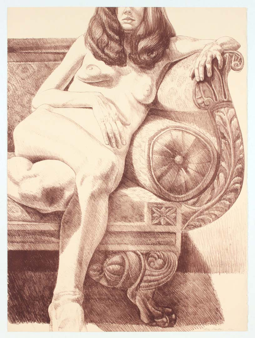 1972 Girl on Empire Sofa Lithograph on Paper 32.25 x 24
