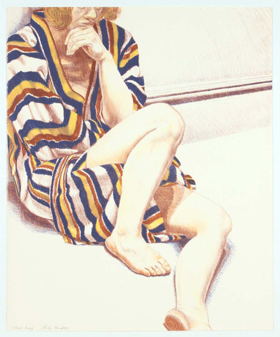 1972 Girl on Striped Robe Lithograph on Paper 27 x 22