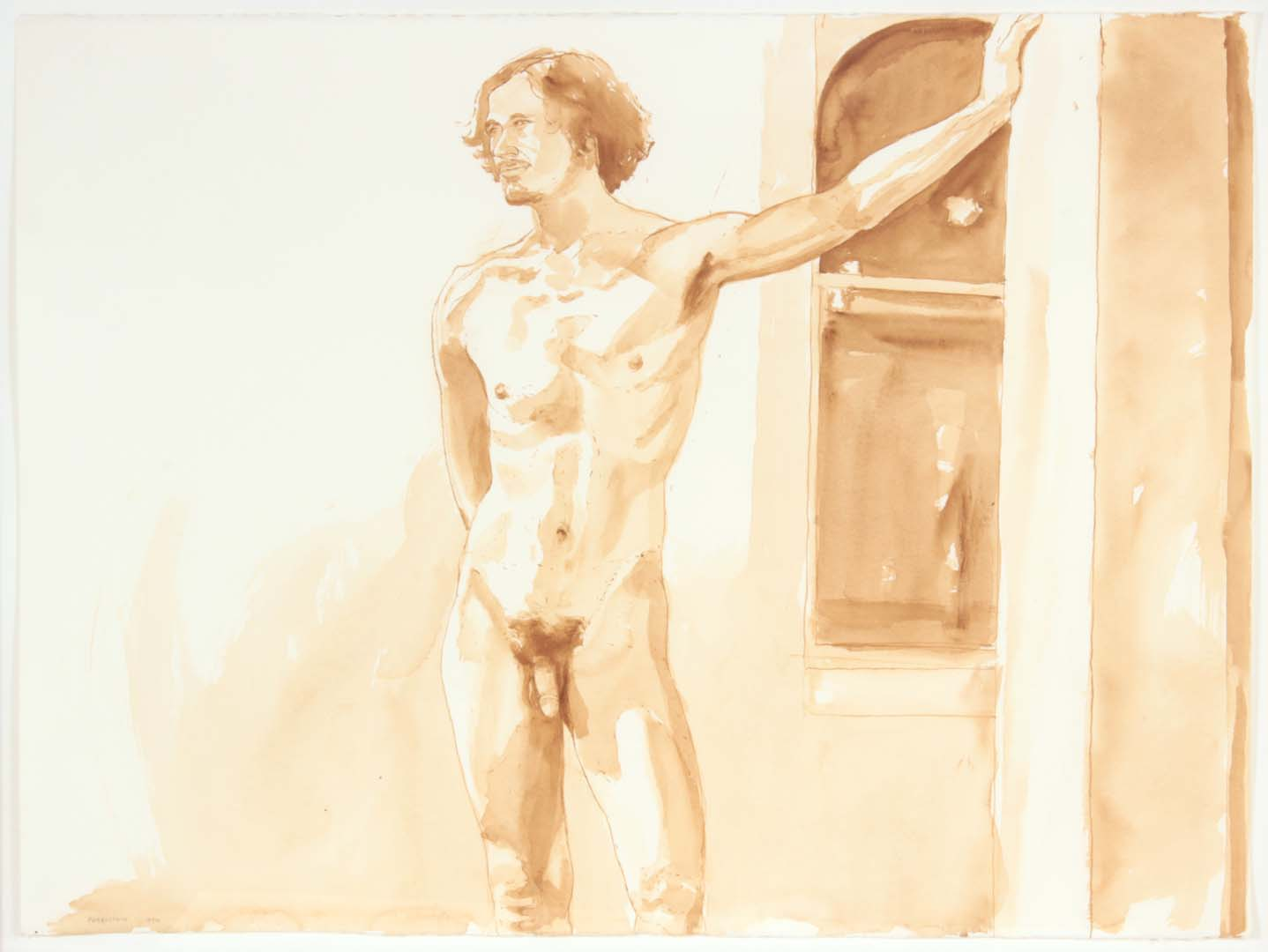 1972 Standing Male Sepia on Watercolor Paper 22 x 30