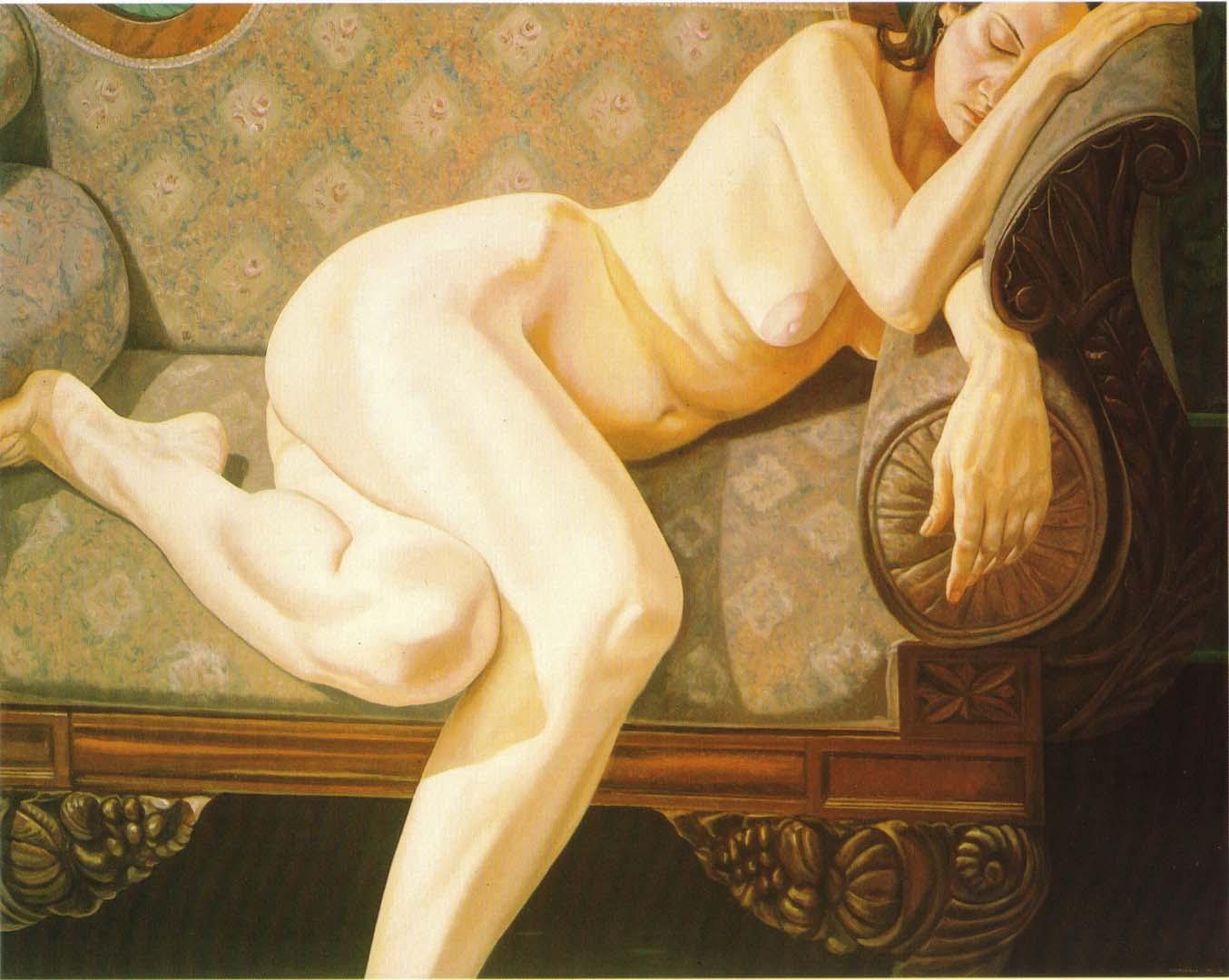 1973 Female Model Reclining on Empire Sofa Oil on Canvas 48 x 60