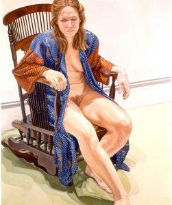 1973 Female Model in Robe Seated on Platform Rocker Oil on Canvas 72 x 60