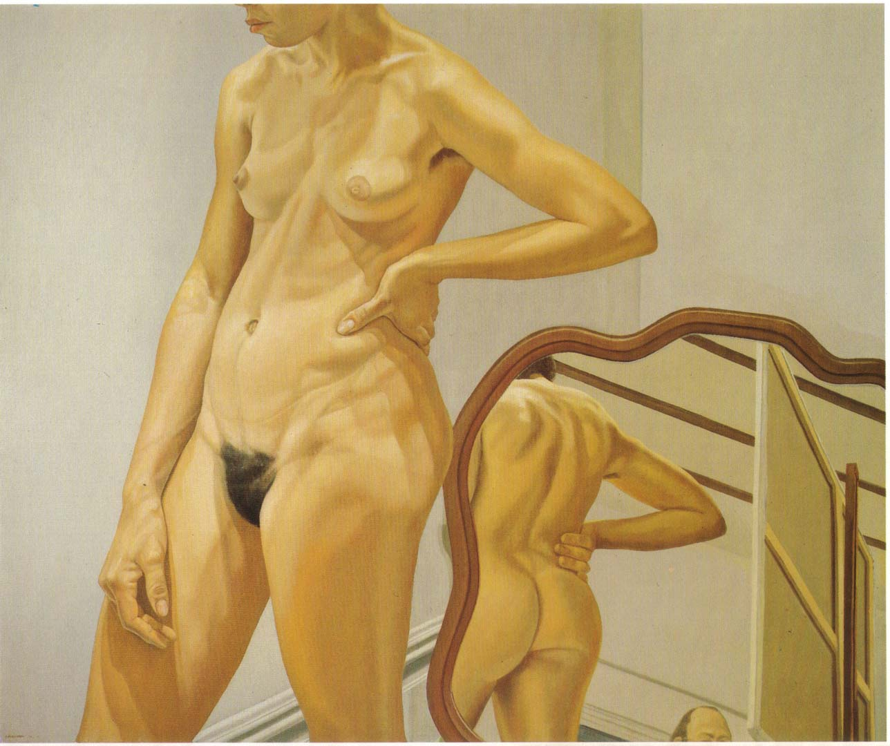 1973 Standing Female Nude with Mirror Oil on Canvas 60 x 72
