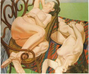 1975 Two Female Models on Bentwood Love Seat and Rug Oil on Canvas 60 x 72