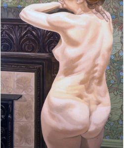 1974 Female Model Leaning on Mantel Oil on Canvas 48 x 40