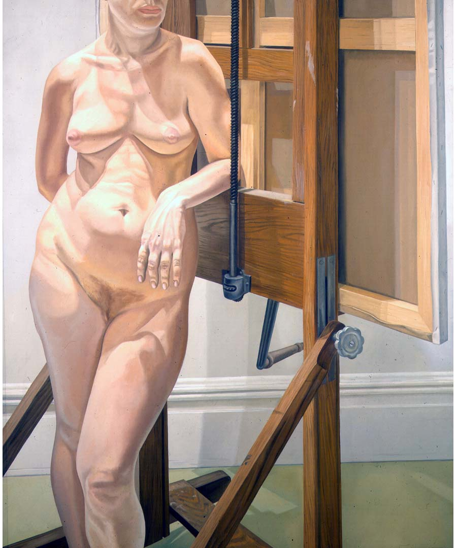 1974 Female Model Standing by Easel Oil on Canvas 72 x 60