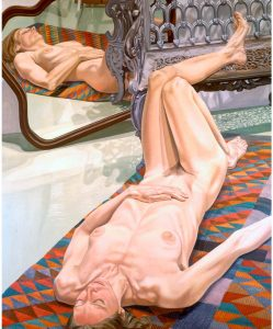 1974 Female Model on Rug with Bench and Mirror Oil on Canvas 72 x 60