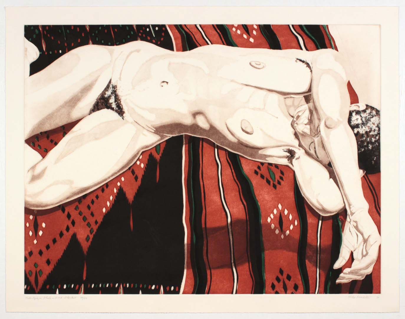 1974 Nude Lying on Black and Red Blanket Aquatint Etching on Paper 22.75 x 29.25