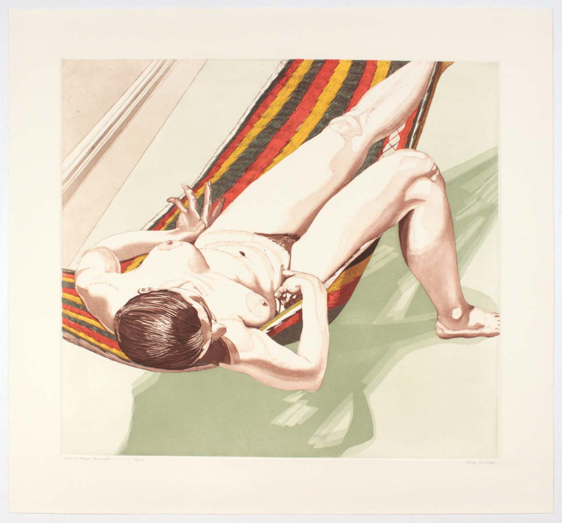 1974 Nude on Striped Hammock Aquatint Etching on Paper 30 x 32.25
