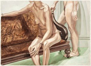 1975 Seated Female Model and Standing Male Model with Crushed Velvet Sofa Watercolor on Paper 29.375 x 41