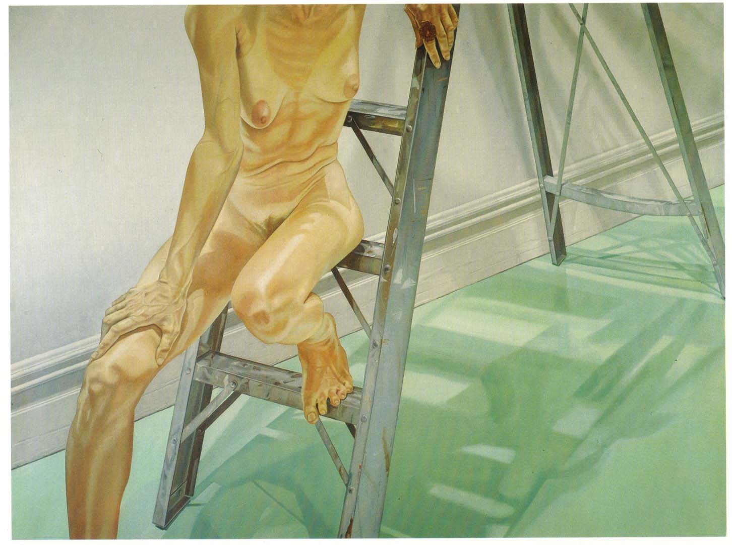 1976 Female Model on Ladder Oil on Canvas 72 x 96