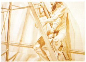 1976 Male Model on Ladder Sepia Wash on Paper 29.5 x 41.5