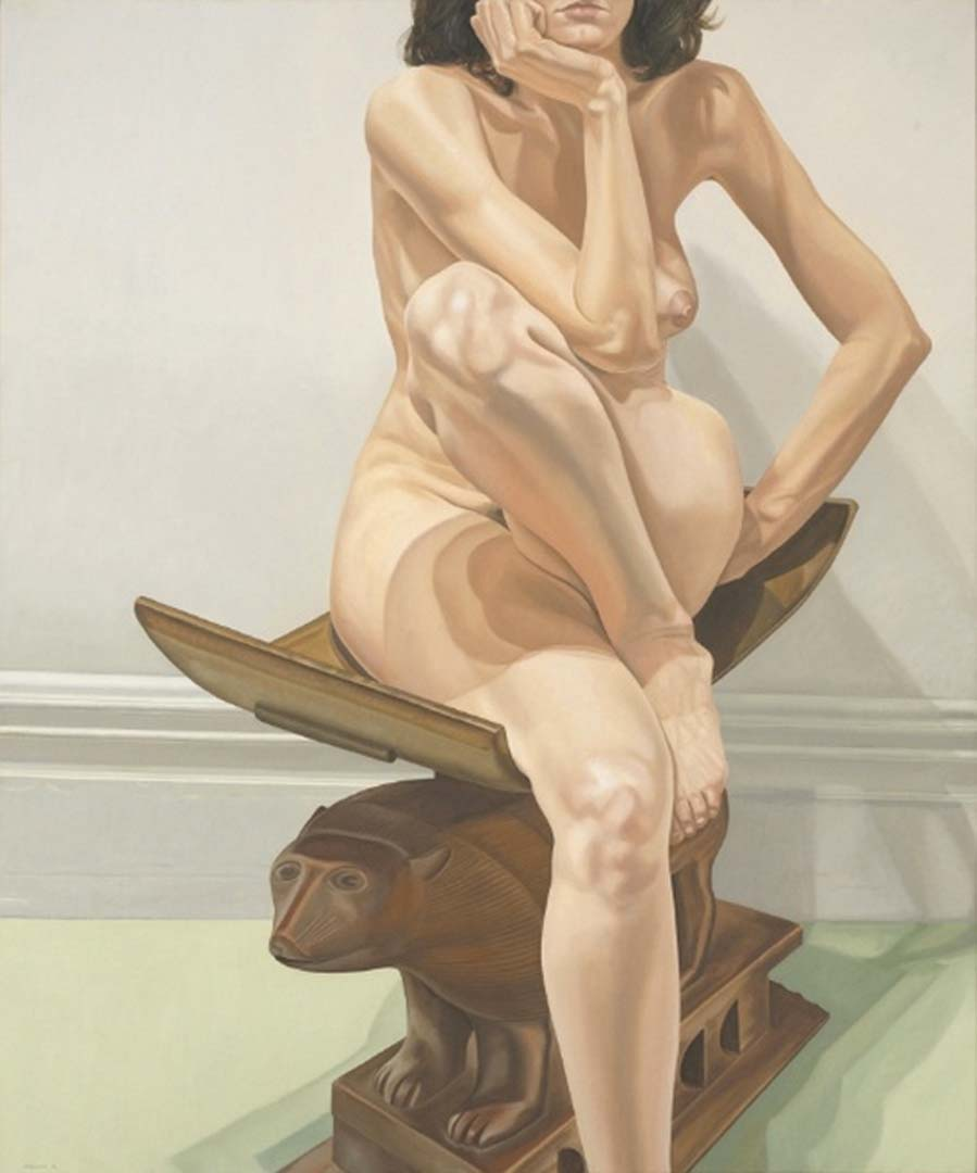 1976 Female Model on African Stool Oil on Canvas 72 x 60