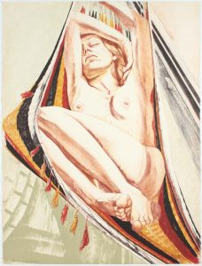 1978 Girl on Hammock Lithograph on Paper 30 x 22.5