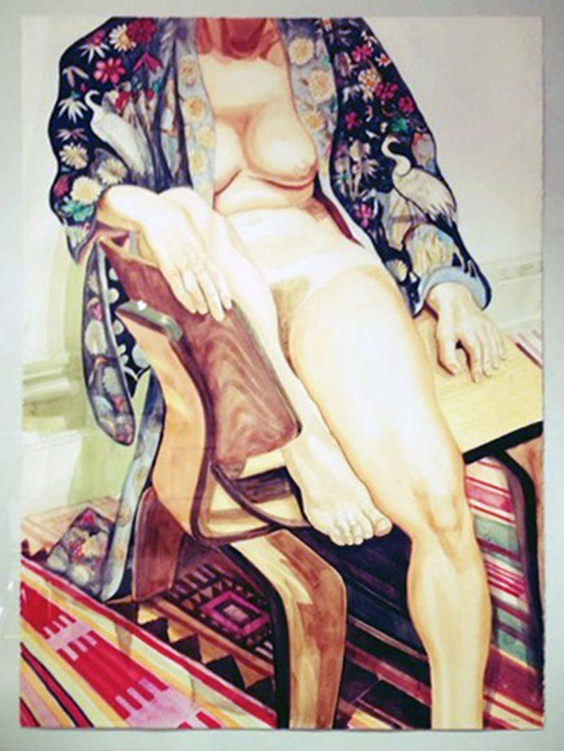 1978 Nude Woman in Japanese Robe Watercolor on Paper Dimensions Unknown