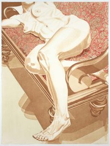 1978 Nude on Settee Aquatint Etching on Paper 40.5 x 30.25