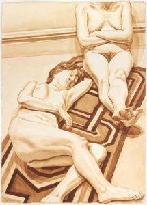 1978 Seated and Reclining Female Nudes on Rug Sepia Wash 41 x 29.25
