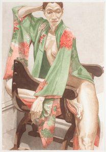 1979 Model in Green Kimono Aquatint Etching on Paper 40 x 27.25