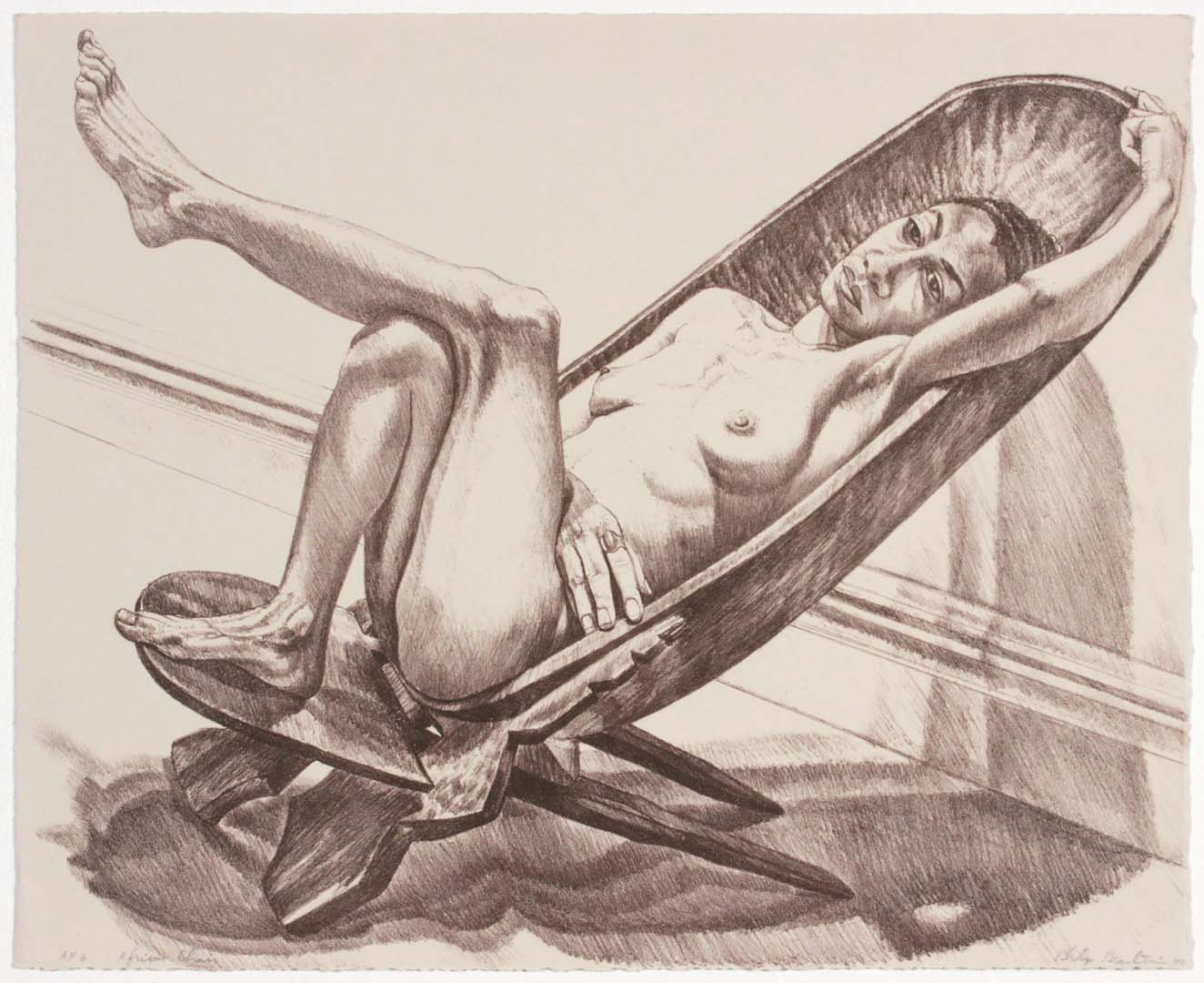 1980 African Chair Lithograph on Paper 16.5 x 20.5