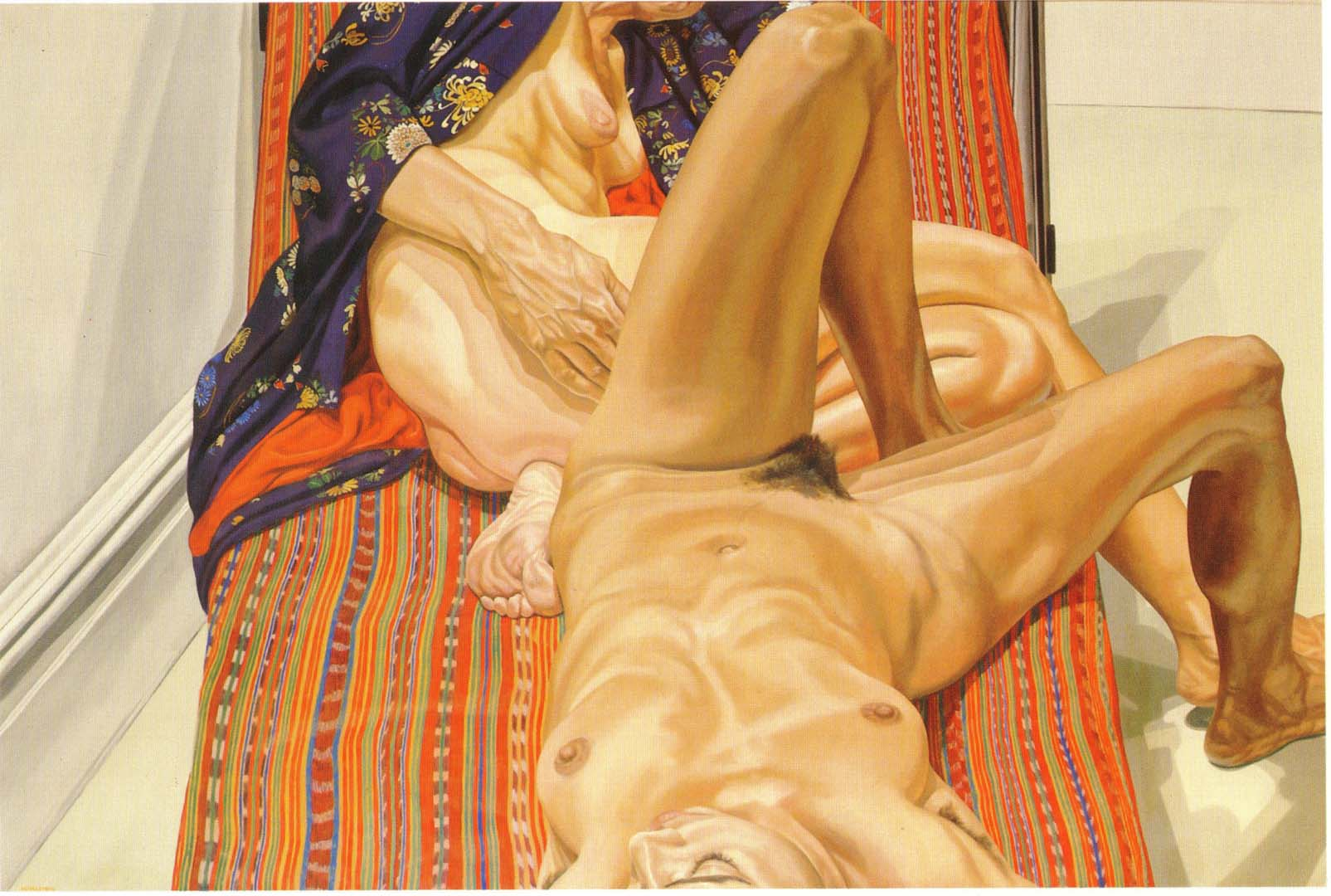 1980 Two Female Models on Peruvian Drape Oil on Canvas 48 x 72