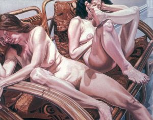 1981 Two Models in Bamboo Chairs Oil on Canvas 60 x 72